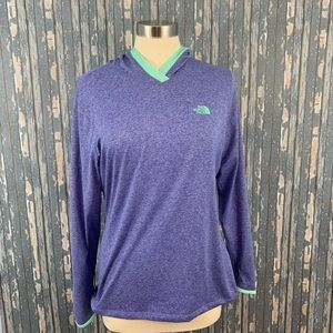 The North Shirt Hood Purple Aqua Large Thumb Holes